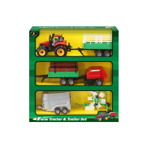 Farm Tractor and Trailer Set