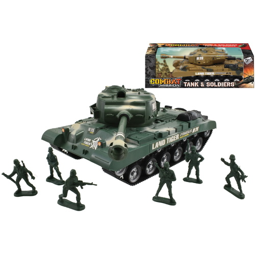Army Tank and Soldiers Friction Playset