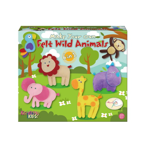 Make Your Own Felt 6-In-1 Wild Animals Playset